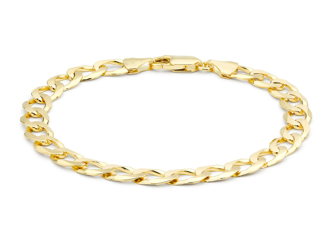 9ct Yellow Gold Flat Curb Bracelet 20cm/8