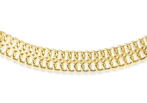 9ct Yellow Gold Double Curb Chain Bracelet 19cm/7.5""