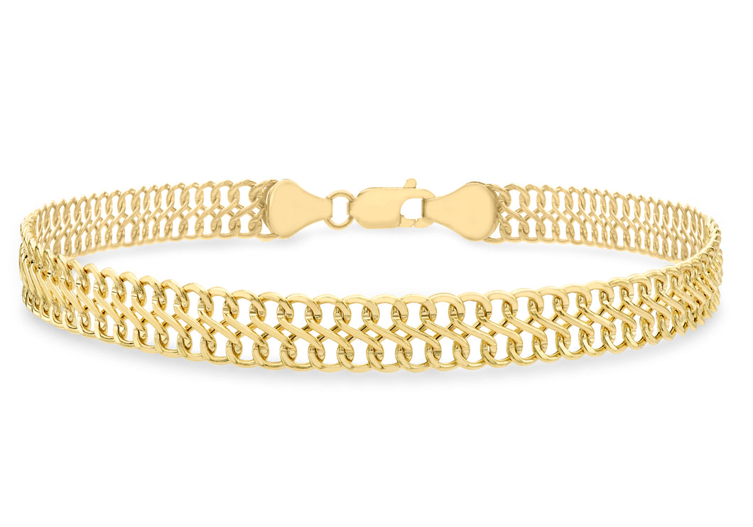 9ct Yellow Gold Double Curb Chain Bracelet 19cm/7.5