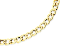9ct Yellow Gold Hollow Flat Curb Bracelet 18cm/7""