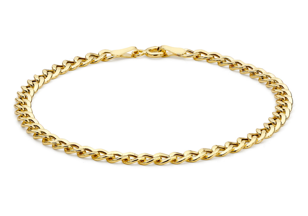 9ct Yellow Gold Hollow Flat Curb Bracelet 18cm/7