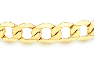 9ct Yellow Gold Hollow Curb Bracelet 19cm/7.5""