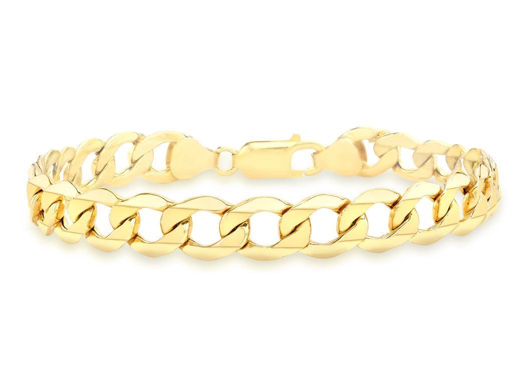 9ct Yellow Gold Hollow Curb Bracelet 19cm/7.5