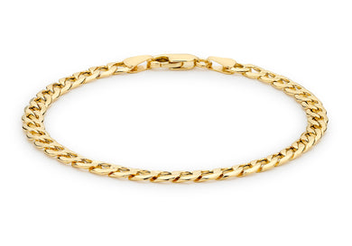 9ct Yellow Gold 120pg 6-Sided Curb Chain Bracelet 21.5cm/8.5