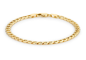 9ct Yellow Gold 120pg 6-Sided Curb Chain Bracelet 21.5cm/8.5""