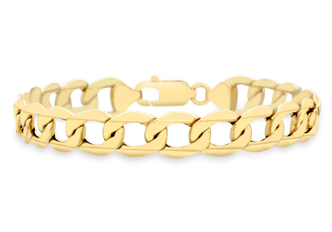 9ct Yellow Gold Hollow Curb Bracelet 20cm/8