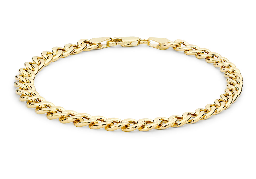 9ct Yellow Gold Hollow Oval Curb Bracelet 8