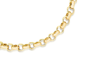 9ct Yellow Gold Hollow Belcher Bracelet 18cm/7""