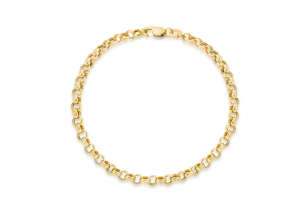 9ct Yellow Gold Hollow Belcher Bracelet 18cm/7