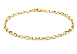 9ct Yellow Gold Hollow Oval Belcher Bracelet 7""