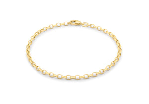 9ct Yellow Gold 100pg Oval Belcher Bracelet 19cm/7.5""