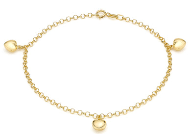 9ct Yellow Gold 3-Heart Belcher Bracelet 18cm/7