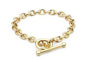 9ct Yellow Gold Oval Belcher T-Bar Bracelet 18cm/7""