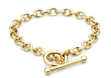 9ct Yellow Gold Oval T-Bar Bracelet 19.5cm/8""