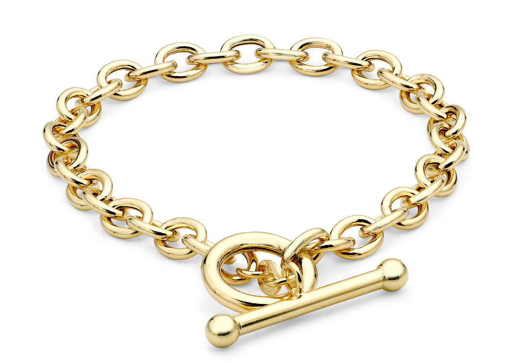 9ct Yellow Gold Oval T-Bar Bracelet 19.5cm/8