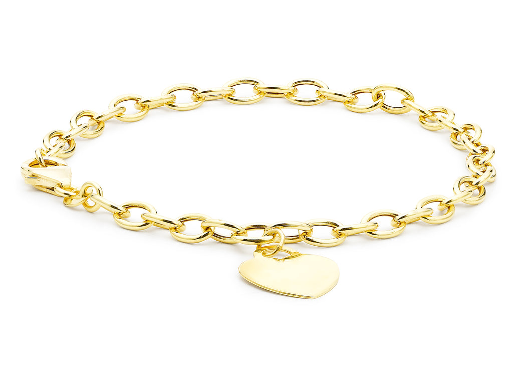 9ct Yellow Gold Heart Tag Belcher Bracelet 18cm/7