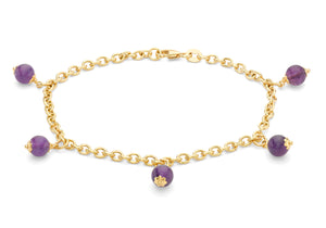 9ct Yellow Gold 5 Amethyst Beads Belcher Chain Bracelet 19cm/7.5""