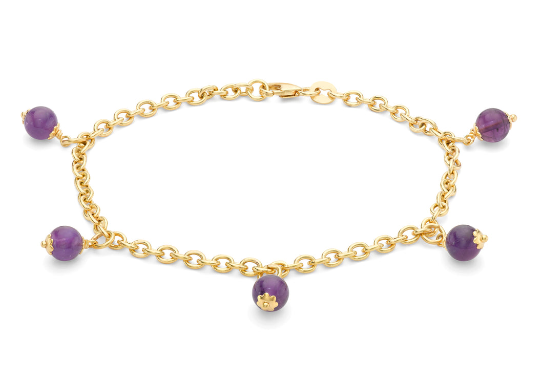 9ct Yellow Gold 5 Amethyst Beads Belcher Chain Bracelet 19cm/7.5