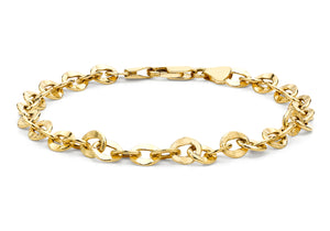 9ct Yellow Gold Oval Hammered Link Belcher Bracelet 19cm/7.5""