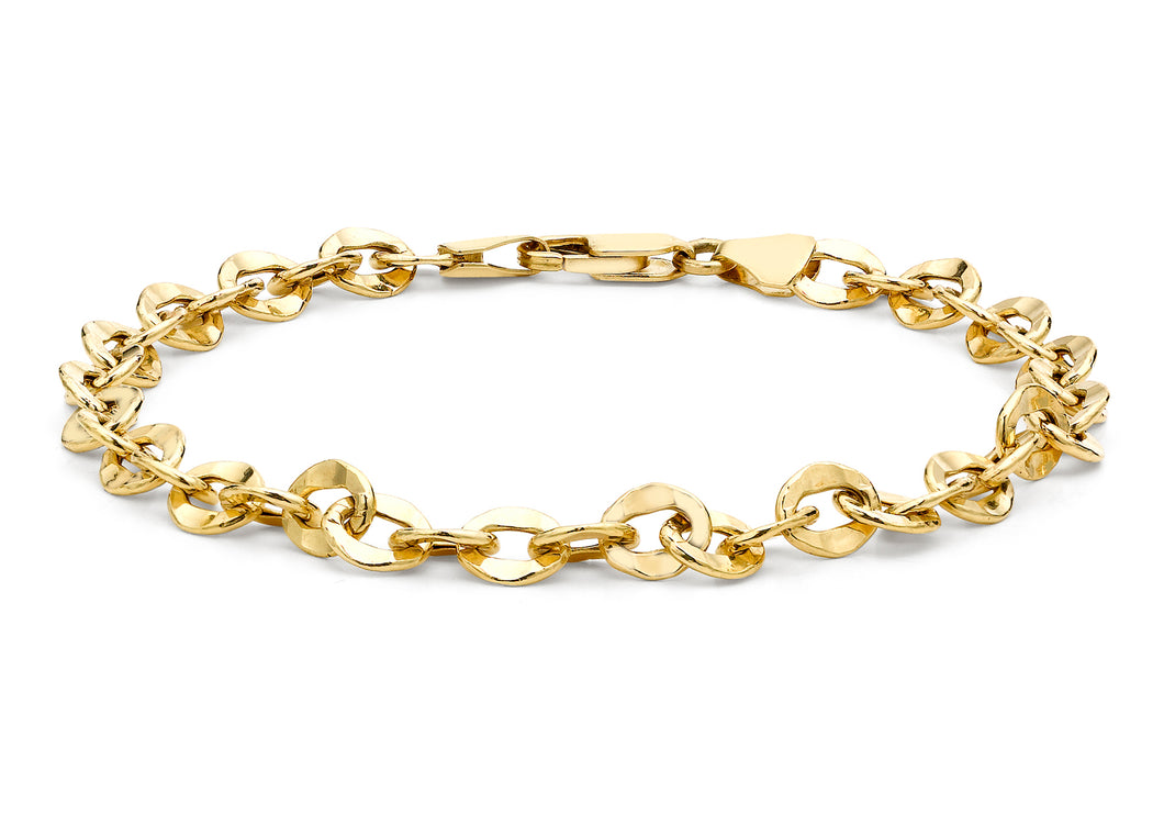9ct Yellow Gold Oval Hammered Link Belcher Bracelet 19cm/7.5
