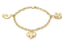 9ct Yellow Gold 3-Angel Charms Belcher Chain Bracelet 19cm/7.5""