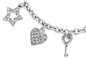 9ct White Gold CZ 8-Charms Belcher Chain Bracelet 18cm/7""