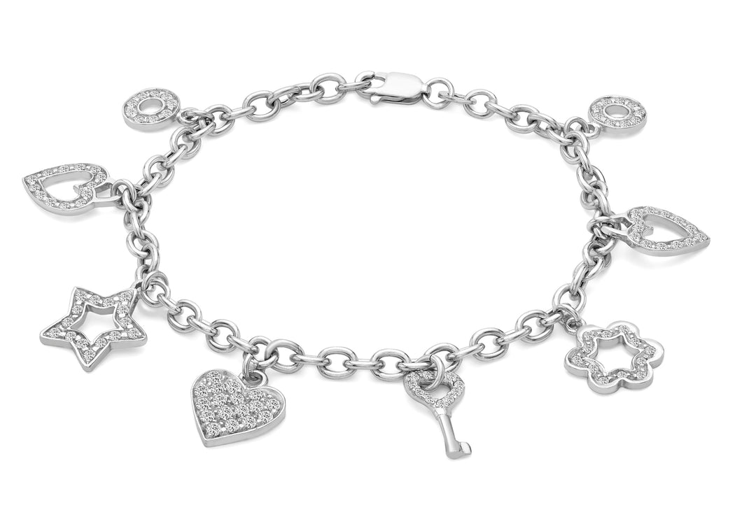 9ct White Gold CZ 8-Charms Belcher Chain Bracelet 18cm/7