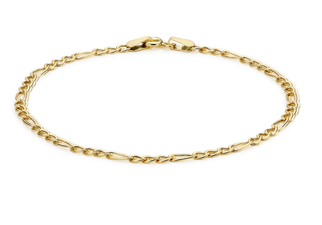 9ct Yellow Gold Hollow Figaro Bracelet
