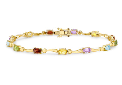 9ct Yellow Gold Multicoloured CZ Wave Bracelet 19cm/7.5