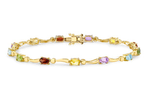 9ct Yellow Gold Multicoloured CZ Wave Bracelet 19cm/7.5""