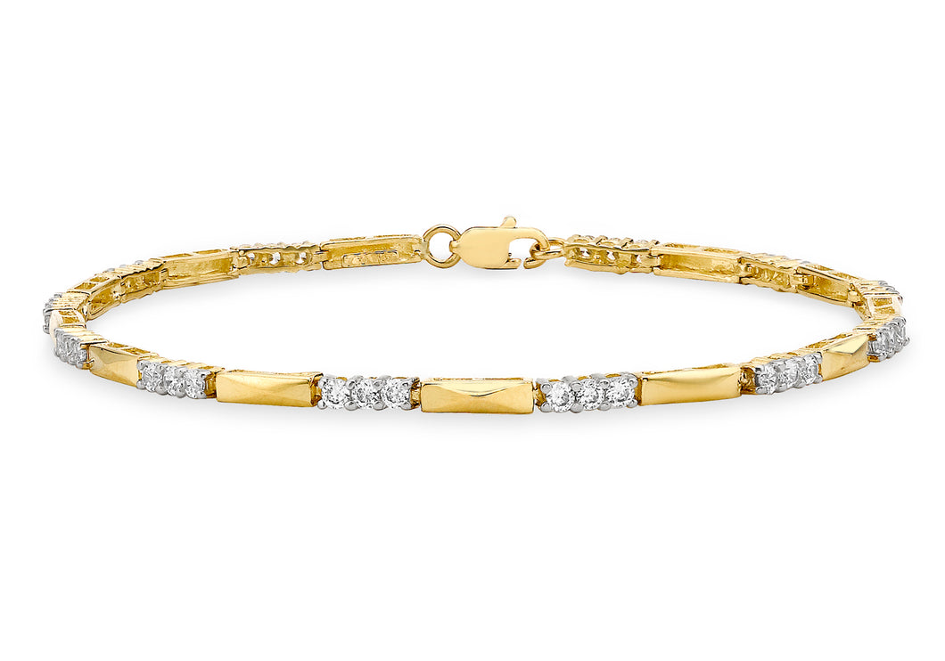 9ct Yellow Gold Bar and CZ Link Bracelet 19cm/7.5