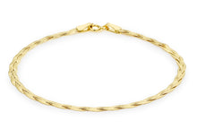 9ct Yellow Gold 3 Plait Fine Herringbone Bracelet 18cm/7""