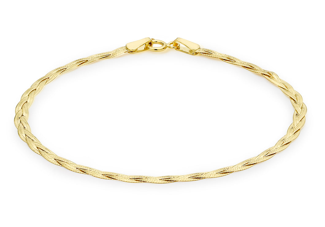 9ct Yellow Gold 3 Plait Fine Herringbone Bracelet 18cm/7