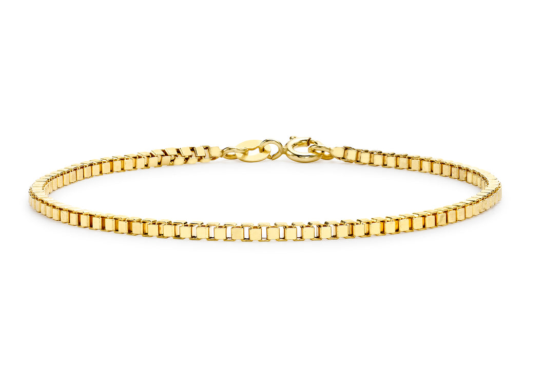 9ct Yellow Gold Hollow Box Bracelet 19cm/7.5