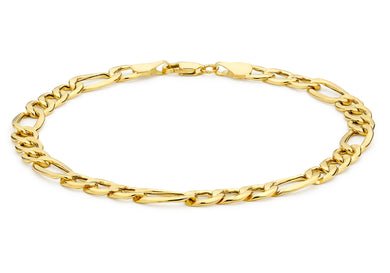 9ct Yellow Gold Hollow Diamond Cut Figaro Bracelet 19cm/7.5