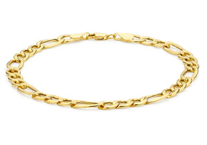 9ct Yellow Gold Hollow Diamond Cut Figaro Bracelet 19cm/7.5""
