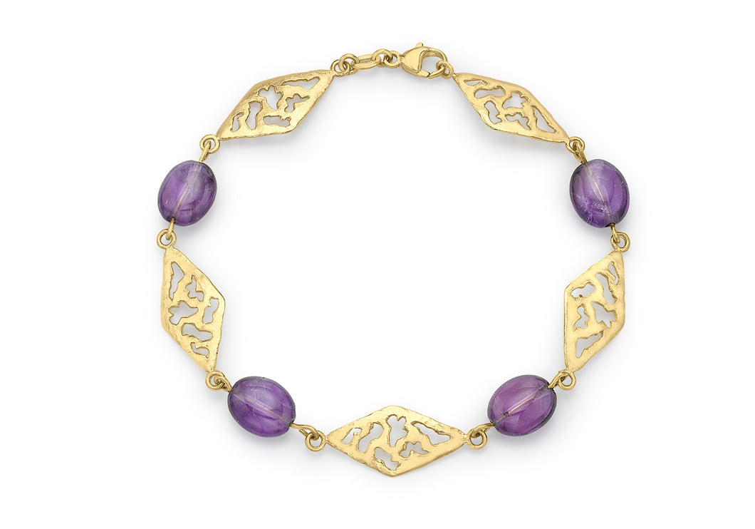 9ct Yellow Gold Diamond Link and Amethyst Bracelet 19cm/7.5