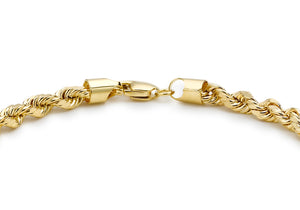 9ct Yellow Gold Hollow Diamond Cut Rope Bracelet 7.5""