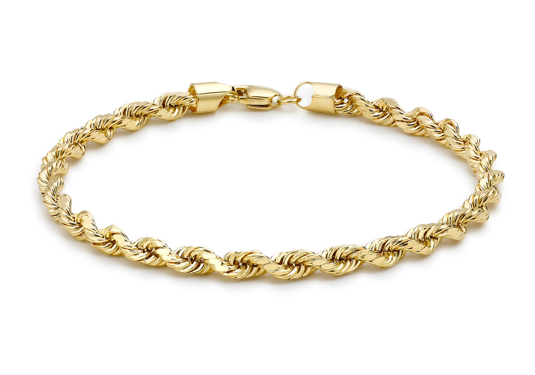 9ct Yellow Gold Hollow Diamond Cut Rope Bracelet 7.5