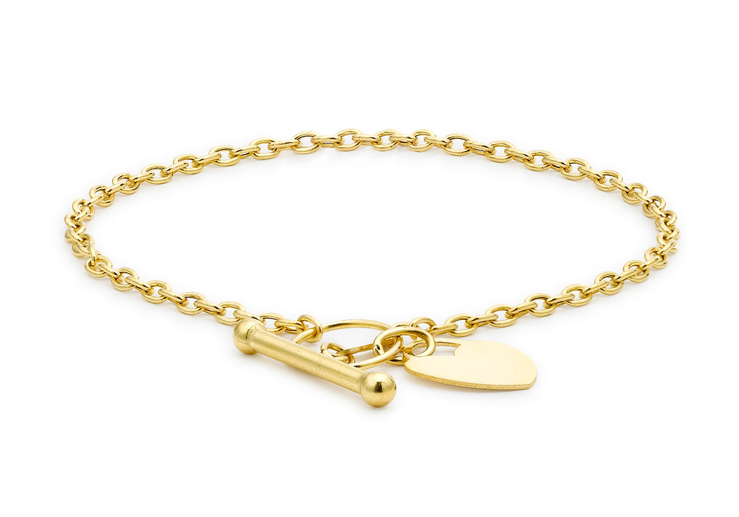 9ct Yellow Gold Heart T-Bar Bracelet 18cm/7