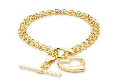 9ct Yellow Gold Heart T-Bar 2-Strand Belcher Bracelet 19cm/7.5