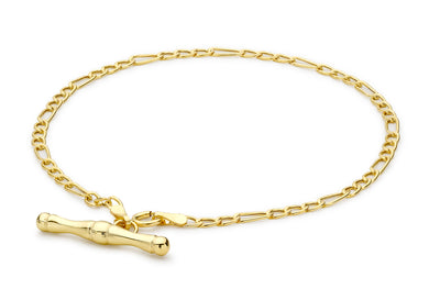 9ct Yellow Gold Hollow Figaro T-Bar Bracelet 19cm/7.5