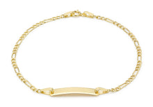 9ct Yellow Gold Hollow Figaro ID Bracelet 18cm/7""