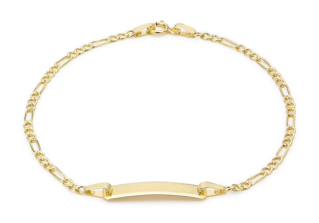 9ct Yellow Gold Hollow Figaro ID Bracelet 18cm/7