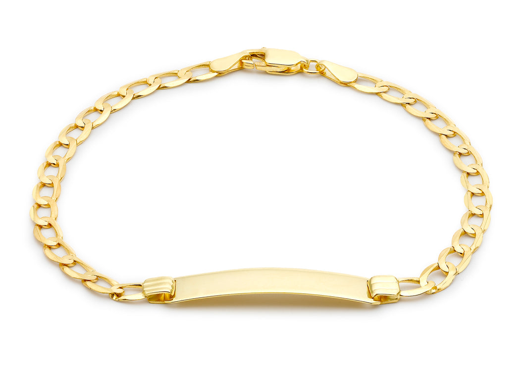 9ct Yellow Gold 120pg Flat Curb ID Bracelet 19cm/7.5