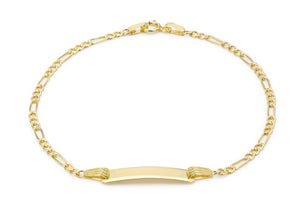 9ct Yellow Gold Children's Hollow Figaro ID Bracelet 15cm/6""