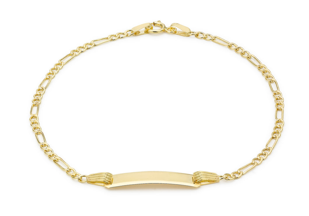 9ct Yellow Gold Children's Hollow Figaro ID Bracelet 15cm/6