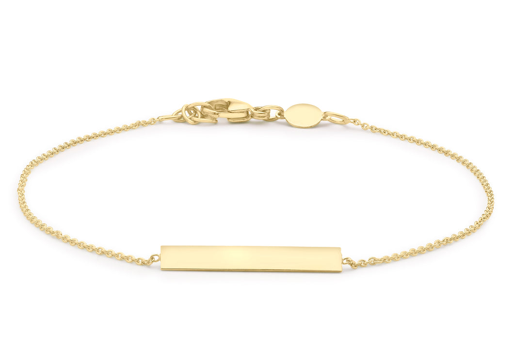 9ct Yellow Gold Bar Adjustable Bracelet 18cm-19cm/7
