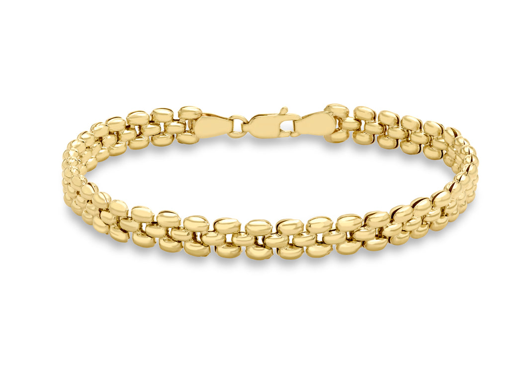 9ct Yellow Gold Fine Brick Stampata Link Bracelet 19cm/7.5
