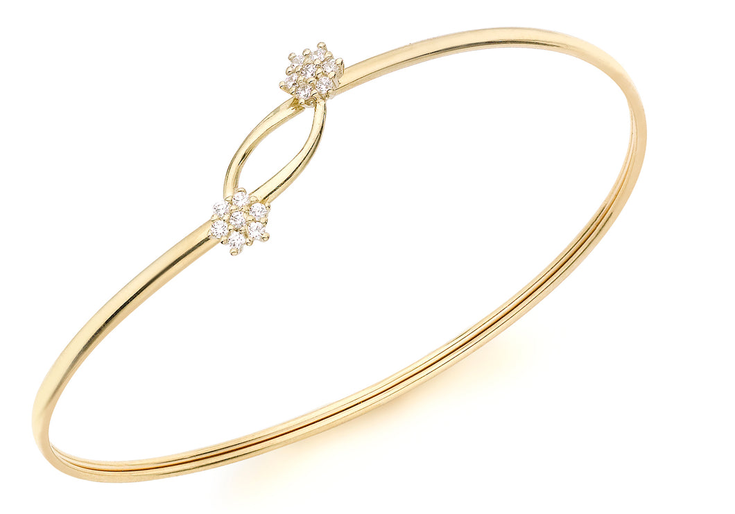 9ct Yellow Gold Cz Cluster Flexible Bangle